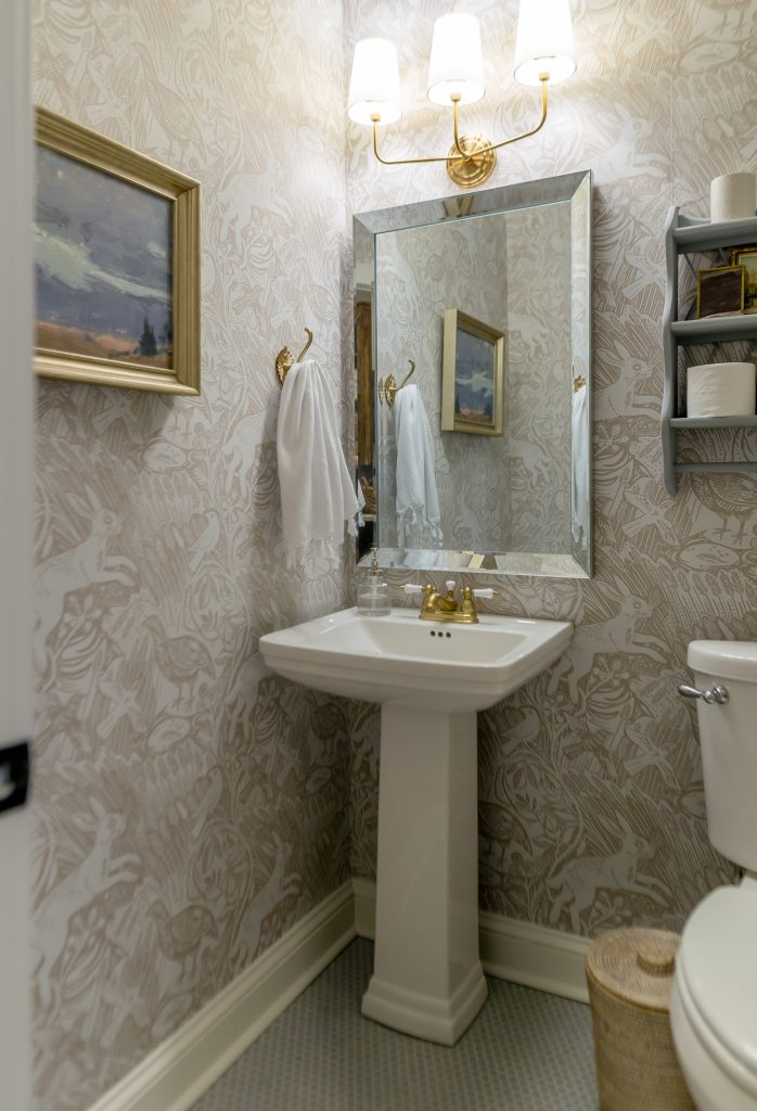 wallpapered powder bathroom