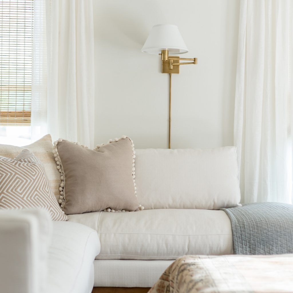 White sectional performance fabric